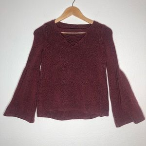 AEO Marled Maroon Lace up Bell sleeve sweater